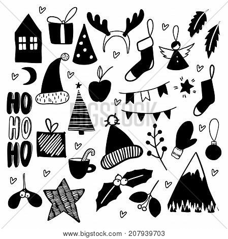 Christmas doodles. Hand drawn vector icons. Xmas and New Year scrapbooking stickers. Chirstmas tree, garland, socks, mitens, house, mountain, branches, present deer horns Simple scandinavian style
