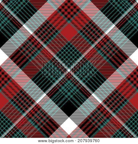 Red green check plaid seamless background. Flat design. Vector illustration.