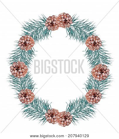 Round Christmas wreath of pine branches and pinecone.