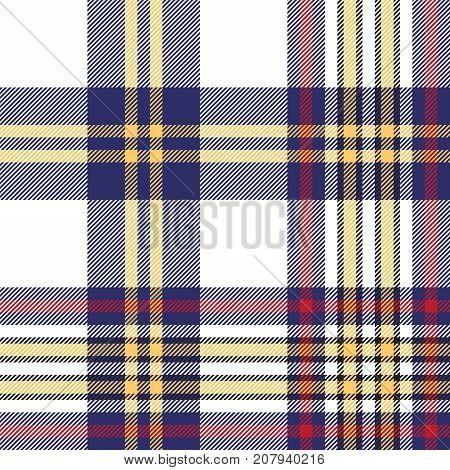 Seamless pattern white blue check plaid. Vector illustration.