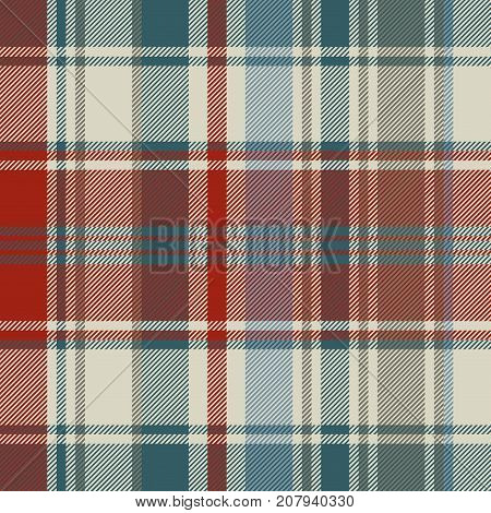 Striped plaid fabric texture seamless background. Vector illustration.