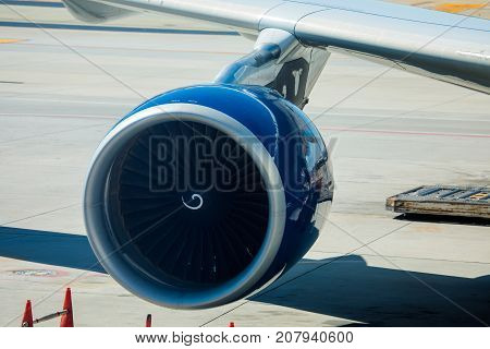 Engine Of Delta Airlines Passenger Airplane