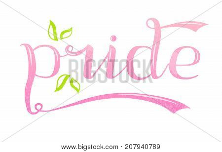 Pride word custom lettering text, vector illustration. Pride calligraphy background