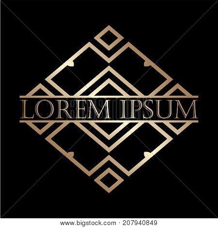 Luxury Vintage Art Deco Golden Vector Frame. Label For Logo, Badge For Club, Bar, Cafe, Restaurant,