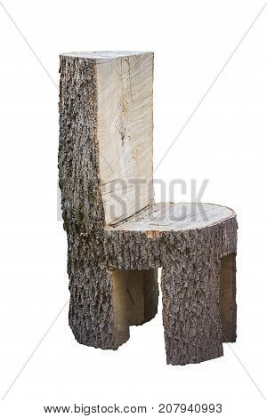 Chunky ugly chair handcrafted of the whole tree trunk. Isolated on white background