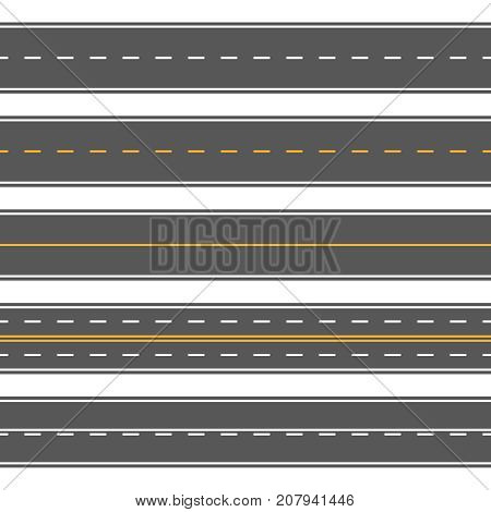 Horizontal straight seamless roads. Modern asphalt repetitive highways. Road asphalt straight seamless, highway street for transportation illustration