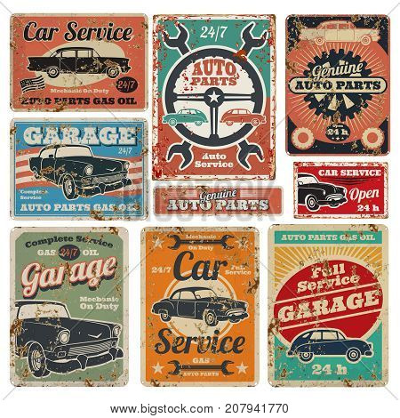 Vintage road vehicle repair service, garage and car mechanic advertising vector metal signs. Garage repair service old banner illustration