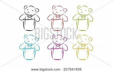 Set of bear doll. Abstract shape of bear doll in a cup.