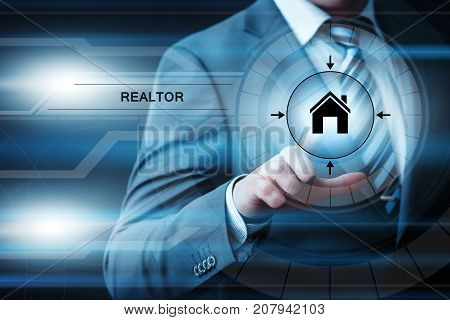 Realtor Agent Buyers Property Management Internet Business Technology Concept.