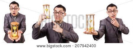 Young man holding briefcase and sandglass isolated on white