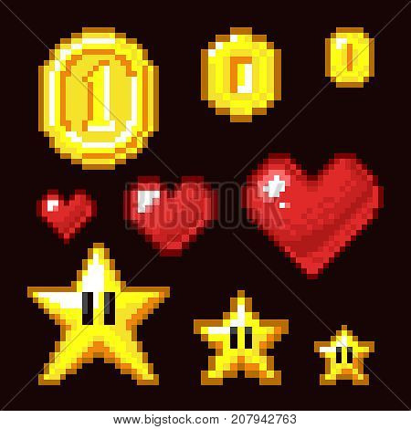 Video game 8 bit assets isolated. Coin, star and heart pixel retro icons in different size. Heart and star, coin pixel game illustration