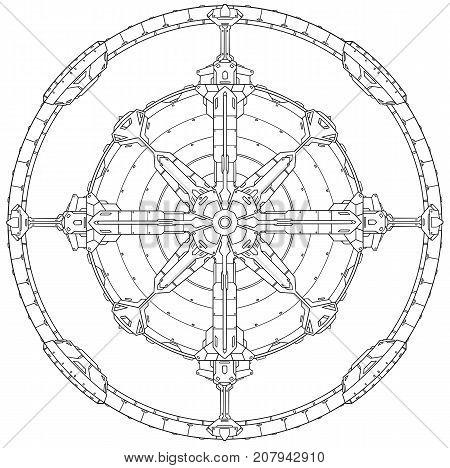Round Ornamental Techno Sci-fi Mechanical Mandala Pattern.