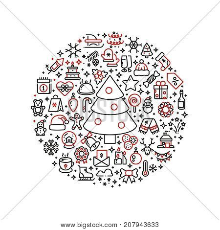 Christmas graphics. Xmas line art icons arranged in ball. Xmas holiday and new year, snowman and gift box. Vector illustration