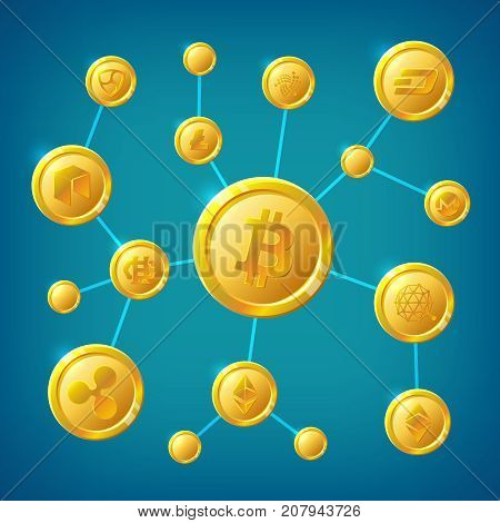 Blockchain, cryptocurrency and bitcoin decentralization anonymous internet transaction vector concept. Illustration of process transaction cryptocurrency