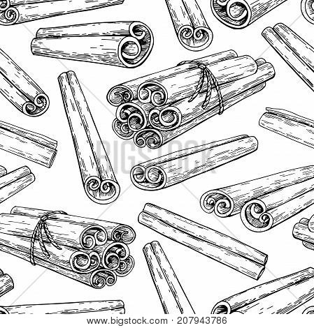 Cinnamon stick and tied bunch seamless pattern. Vector drawing. Hand drawn sketch. Seasonal food illustration isolated on white. Engraved style spice and flavor object. Cooking and aromaterapy ingredient.