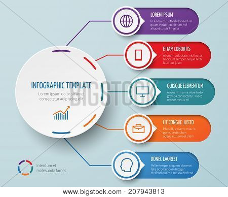 Infographic for business presentation with circular elements and options vector template. Circular diagram business, presentation chart brochure illustration
