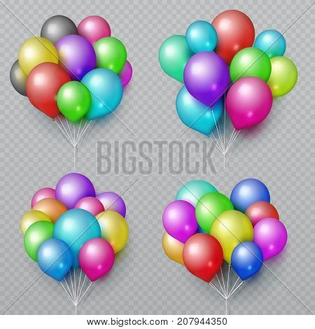 Multicolor realistic balloon bunches isolated. Wedding and birthday party decoration vector elements. Set of color air balloon bunch illustration