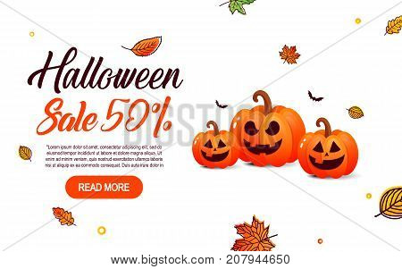 Halloween sale offer design template. Halloween  background with pumpkin, full moon for sale