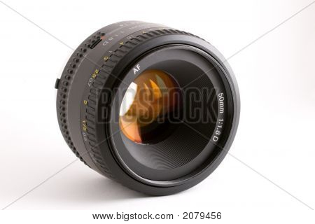 A black 50mm prime auto-focus camera lens set against a white background. poster