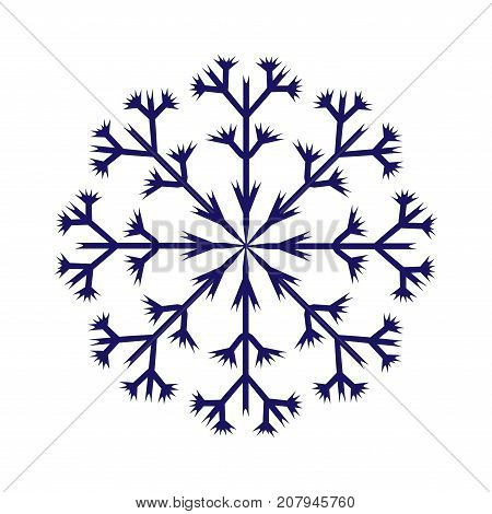 Snowflake sign. Winter design. Cold ornament symbol. Image of snow season. Blue ice icon isolated on white background. Logo for christmas or frozen celebration. Stock vector illustration