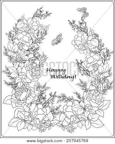 The composition of bouquet of roses and butterflies. Outline hand drawing coloring page for adult coloring book with place for text. Stock vector.