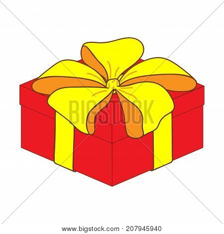 Close gift box with bow sign. Image of elegant present. Beautiful colorful icon isolated on white background. Surprise symbol. Logo for holiday celebration. Mark of decoration for gift. Stock vector