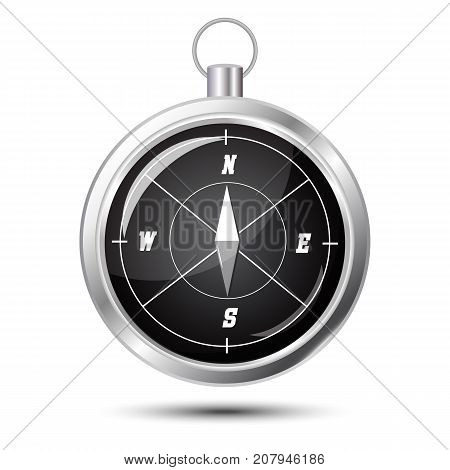 Glossy Stylish Compass with windrose. Vector Illustration on white background with soft shadow