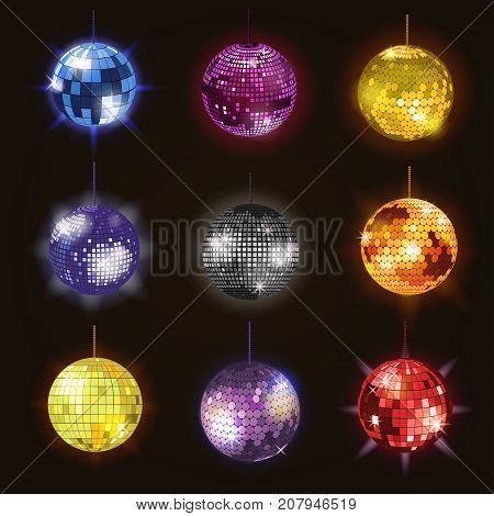 Disco balls discotheque dance music party equipment vector illustration . Shiny music entertainment party night club dance