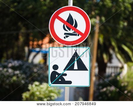 No Camping And No Fire Allowed Warning Sign In Croatia.