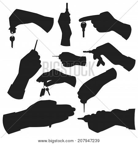 Hand holding key apartment selling human gesture black silhouette security house concept symbol vector illustration. Business success bodu part with agent lock finger people.