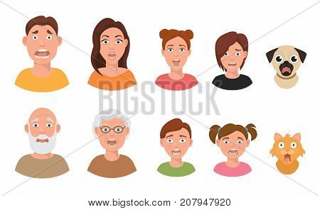 Set of people facial emotions afraid fearful scared windy emotions faces different expressions vector illustration in flat style. Emotional human avatar.