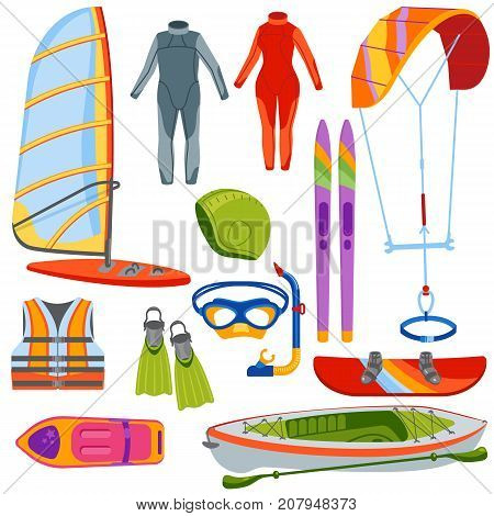 Fun water extreme sport kiteboarding, surfer., sailing leisure sea activity summer recreation extreme vector illustration. Surfing nature kayaking tools.