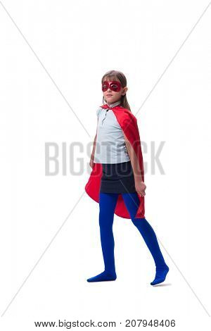 Young girl in super hero concept isolated on white
