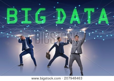 Big data modern computing concept with supporting businessman