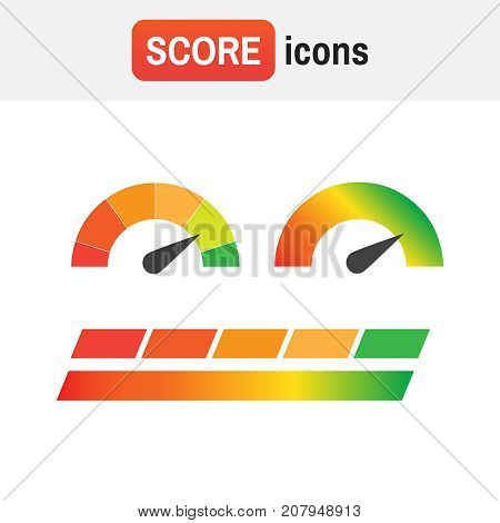 Guage Score Credit. Credit Score Indicators And Gauges Vector