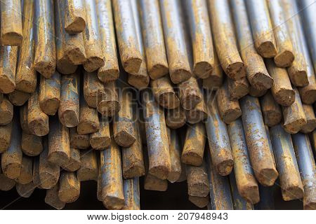 Reinforcing bars in the packs are stored in the metal products warehouse Russia