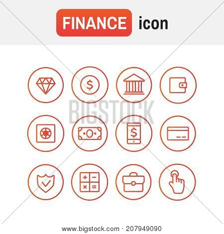 Finance Icon Vector. Finance Icons Line Style Vector