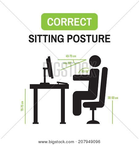Ergonomic Office Posture. Correct Sitting Posture Correct Position Of Persons