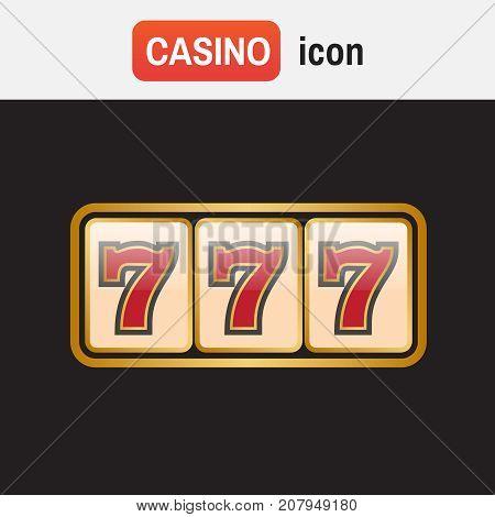 Lucky Seven Jackpot. Casino Lucky Seven Vector Icons. Jackpot Vector