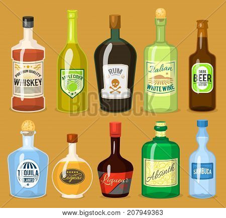 Alcohol strong drinks in bottles and cocktail glasses whiskey cognac brandy beer wine vector illustration. Cool cold alcoholic drawing liquor beverage.