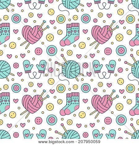Knitting, sewing seamless pattern. Cute vector flat line illustration of hand made equipment knitting needle, bottons, wool, cotton skeins. Colored background for yarn tailor store. Knitted with love.