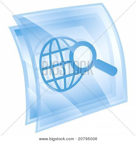 Magnifier And Globe Icon Blue, Isolated On White Background.