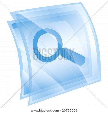 Magnifier Icon Blue, Isolated On White Background.