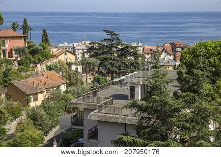 Summer vacation time on the Ligurian coast the Ligurian sea resorts .