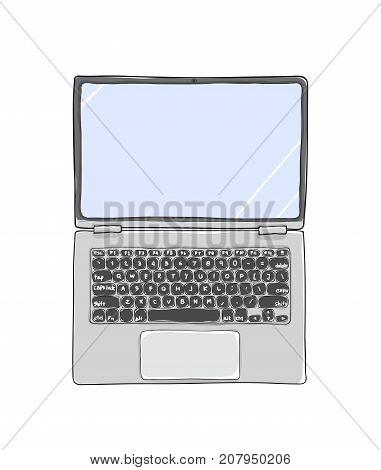 top view laptop hand drawn cute vector art illustration