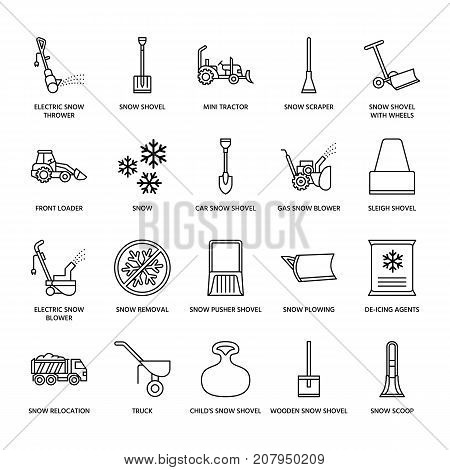 Snow removal flat line icons. Ice relocation service signs. Cold weather equipment - snow thrower, blower, truck, front loader, snow shovel. Vector illustration, industrial cleaning symbols. poster