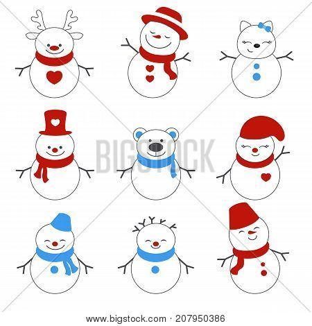 Set Of Winter Holidays Snowman.