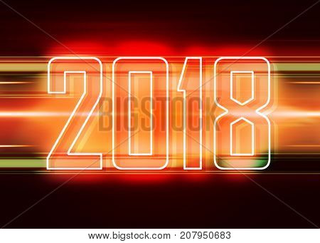 Technology red background with transparent figures 2018 for New Year
