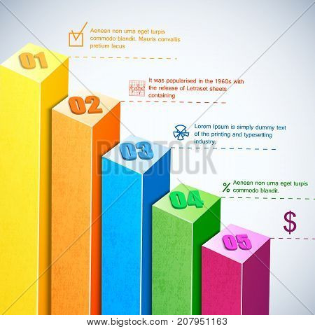 Business volumetric multicolored bars composition or infographic having different description with texts vector illustration
