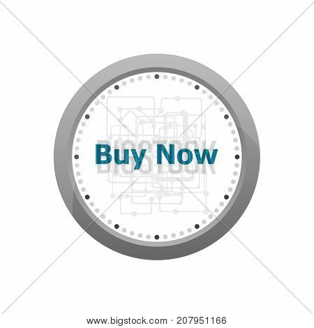 The Word Buy Now On Digital Screen, Business Concept . Abstract Wall Clock Isolated On A White Backg